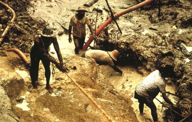 Garimpeiros ilegais danificam o território dos yanomami e atacam suas famílias. Foto: Cortesia de Colin Jones/Survival International
