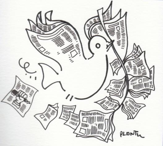 Desenho pela paz. Crédito: Plantu