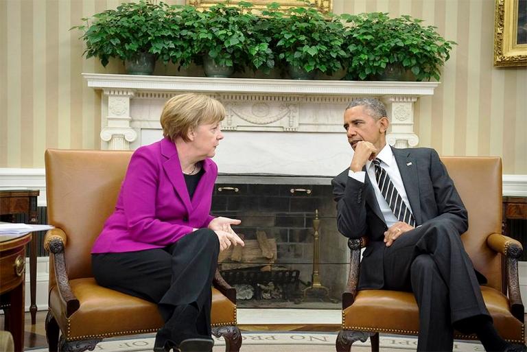 O presidente dos Estados Unidos, Barack Obama e a chanceler alemã, Angela Merkel, na Casa Branca. Foto: BPA Germany Info
