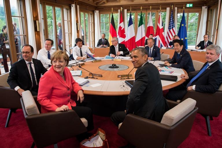 08/06/2015- Alemanha , A chanceler da Alemanha, Angela Merkel, pediu aos líderes do G7 para se comprometerem com objetivos mais duros para cortar os gases causadores do efeito-estufa no último dia da cúpula do Grupo dos Sete nos Alpes da Baviera.