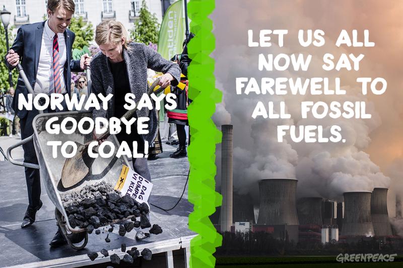 """""""A Noruega diz tchau ao carvão! Vamos todos dizer adeus aos combustíveis fósseis"""" diz a arte feita pelo Greenpeace Noruega. Foto: ©Greenpeace"""
