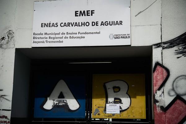 Entrada da Emef Enéas Carvalho de Aguiar, zona norte da capital. Por causa da falta de água, há dias em que as crianças são dispensadas. Foto: Instituto Alana/Agência Pública/Felipe Paiva