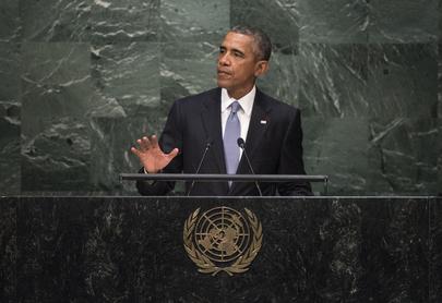 O presidente dos Estados Unidos, Barack Obama, perante à Assembleia Geral da ONU. Foto: Cia Pak/ONU
