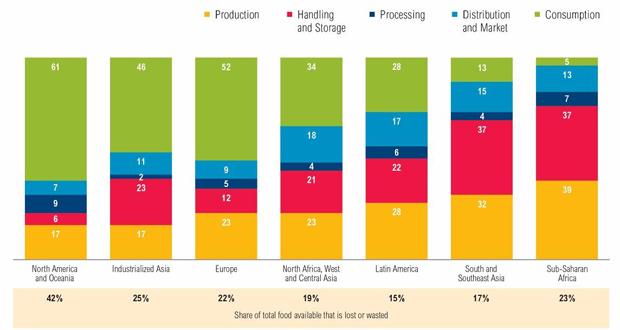 Proporção de alimentos disponíveis que se perde ou são desperdiçados. Foto: WRI