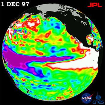 El Niño de 1997-98 observado pelo Topex/Poseidon. Foto: en.wikipédia.org
