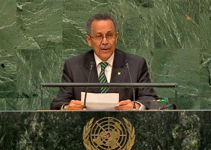 O secretário-geral da ACP, Patrick Gomes, na Cúpula sobre Desenvolvimento Sustentável realizada na 70ª Assembleia Geral da ONU