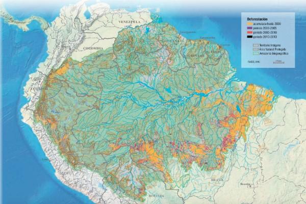 Mapa do desmatamento na Amazônia, com legendas em espanhol. Fonte: RAISG