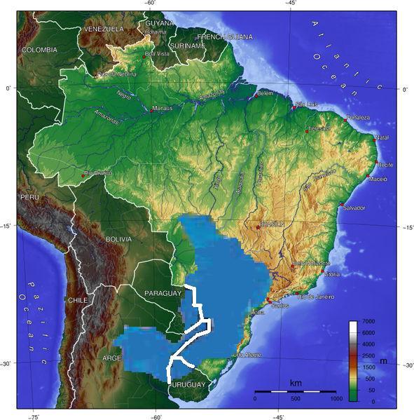 Em azul, a localização do Aquífero Guarani, abrangendo os territórios de Uruguai, Argentina, Paraguai e Brasil. Foto: Wikipedia