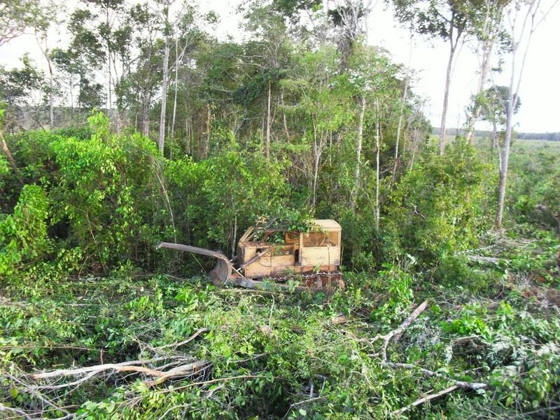 Trator flagrado derrubando floresta na região norte de Mato Grosso durante operação do Ibama, em 2014. Foto: Ibama-MT