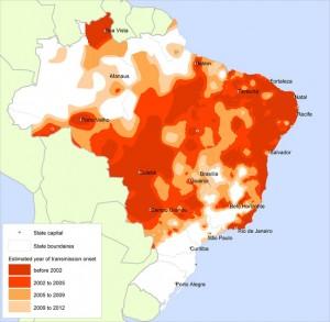 """As áreas em vermelho-claro e laranja mostram o a expansão da dengue Brasil após 2001. Fonte: """"Expansão da área de transmissão da dengue no Brasil: o papel do clima e das cidades"""", estudo de Christovam Barcellos e Rachel Lowe"""