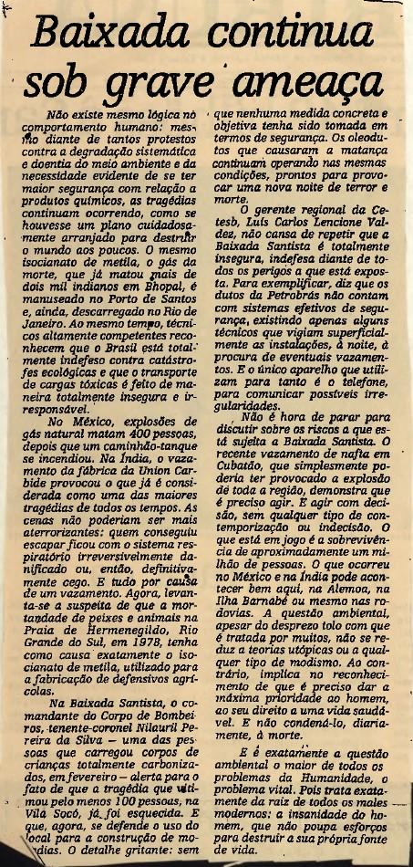 Coluna no jornal A Tribuna, de Santos, em 08 de dezembro de 1984, levantava discussão sobre degradação ambiental