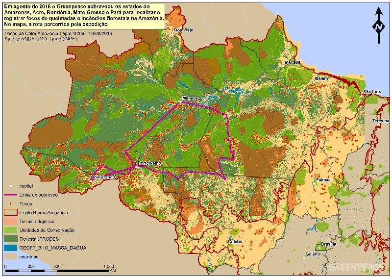 O Greenpeace sobrevoou os estados do Amazonas, Acre, Rondônia, Mato Grosso e Pará