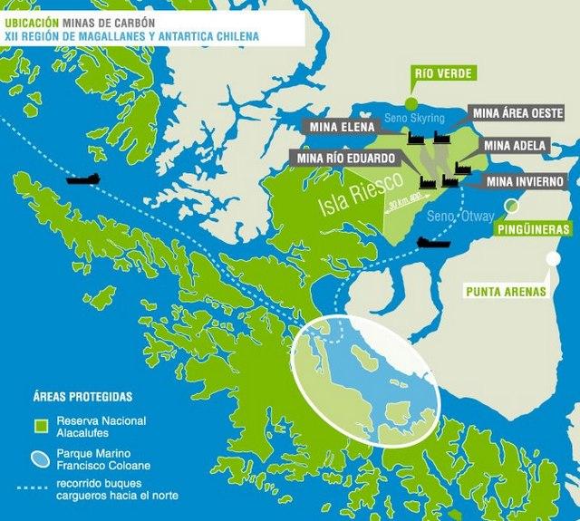 Mapa da localização das minas de carvão na ilha de Riesco, na região de Magalhães, no extremo sul do Chile. Foto: Alerta isla Riesco
