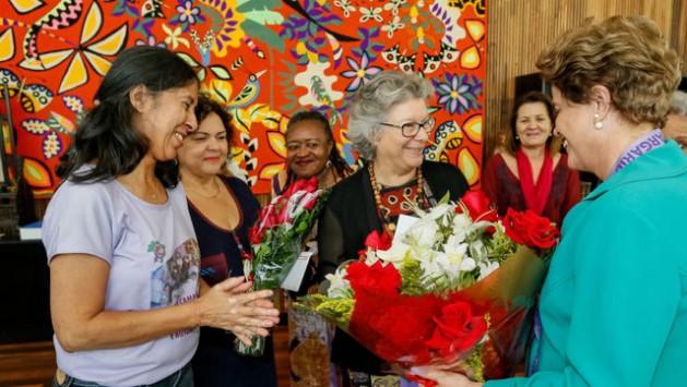 A presidente Dilma Rousseff durante encontro com o Movimento de Mulheres, na residência do Palácio da Alvorada, antes do início do julgamento de seu impeachment. Foto: Roberto Stuckert Filho/PR