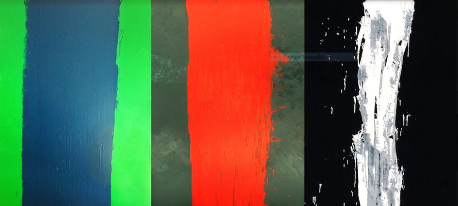Com três pinturas o artista apresenta o processo de destruição do Rio Doce