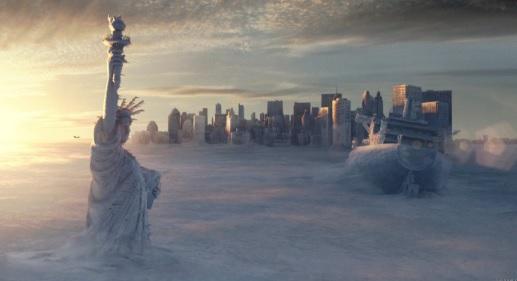 """Nova York coberta de gelo devido ao desligamento da circulação meridional do Atlântico Norte, em cena do filme """"O Dia Depois de Amanhã"""". Foto: Reprodução"""