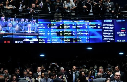 Placar da votação de 31 de agosto no Senado. Foto: Geraldo Magela/Agência Senado