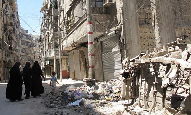 Rua de Alepo, em poder da insurgência, em agosto. Foto: Shelly Kittleson/IPS