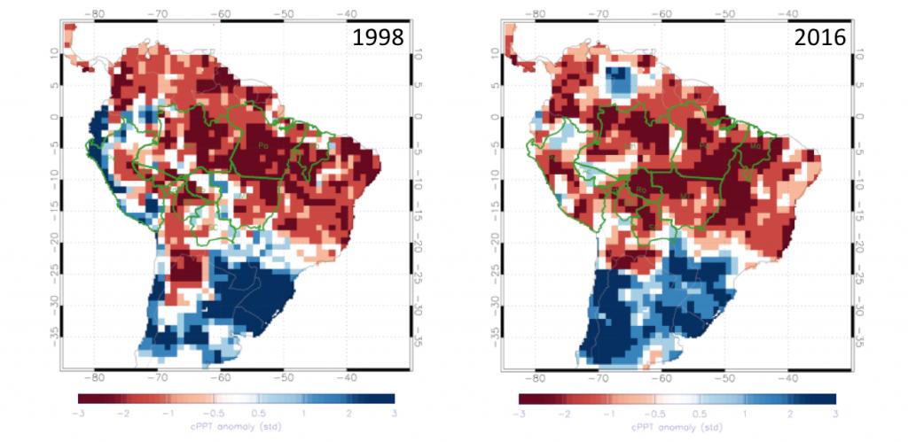 Comparação entre secura na Amazônia entre 1998 (esq.) e 2016; quanto mais vermelho, mais seco