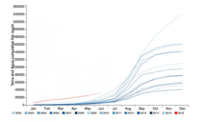 Número de focos de calor entre 2003 e 2016 (linha vermelha)