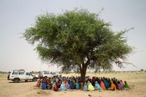 No Sudão, mulheres fazem fila para receber alimentos em Tawilla, um local para pessoas deslocadas que chegam fugindo de Jebel Marra, em Darful. Esse tipo de assistência de emergência tira fundos de projetos de nutrição em Cartum. Foto: Ocha