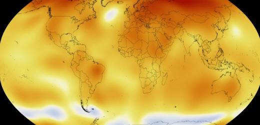 Mapa global de temperaturas em junho. Imagem: Nasa