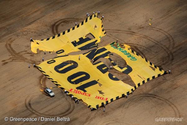 Antes da Moratória, a soja vinha se consolidando como um grande vetor de desmatamento na Amazônia. Na imagem, ativistas do Greenpeace protestam em área desmatada, em Santarém, e são recebidos com violência.. Foto: © Greenpeace / Daniel Beltrá