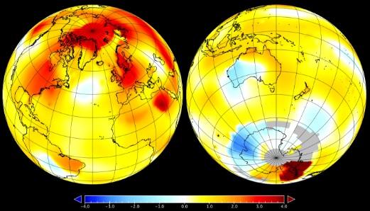 Anomalia de temperatura da Terra em setembro. Imagem: Nasa